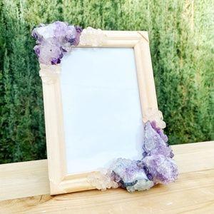 Amethyst and Crystal Quartz gemstone picture frame